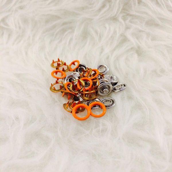 10 Jersey Druckknöpfe ring orange