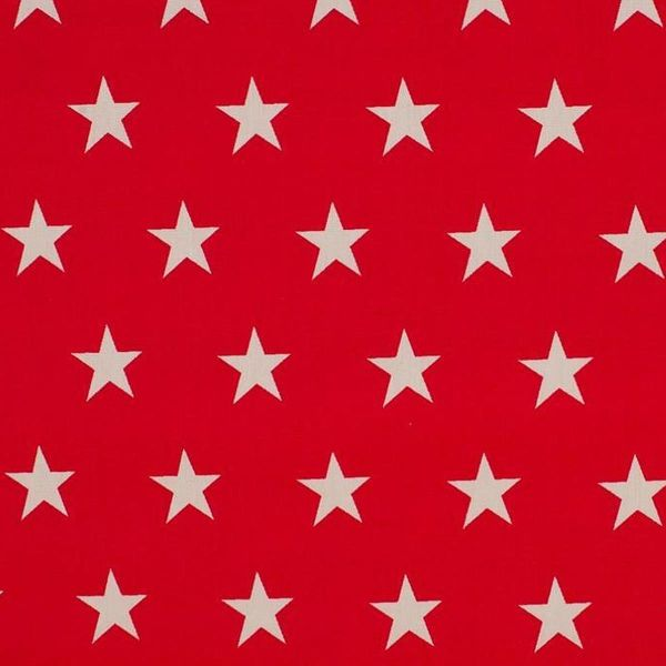 Baumwollstoff große Sterne rot/weiß