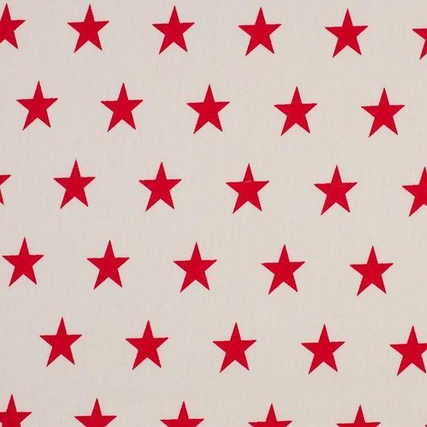Baumwollstoff große Sterne weiß/rot