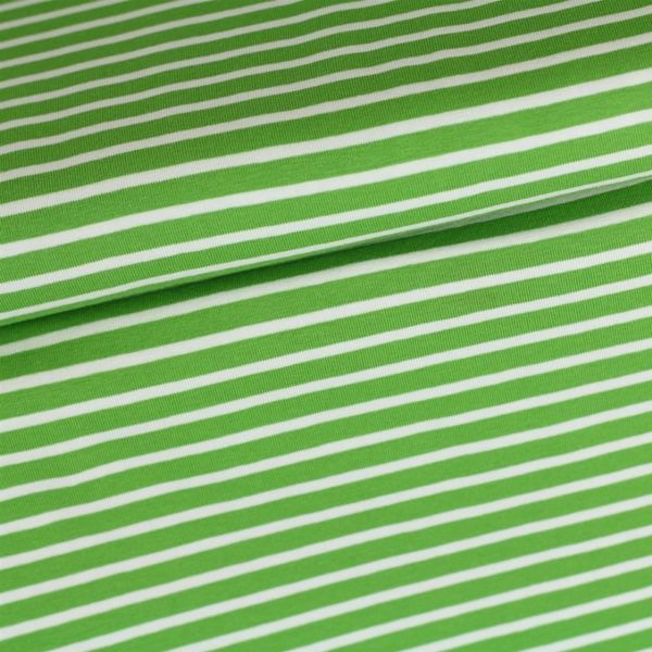 Bio Jersey Streifen kiwi/weiß
