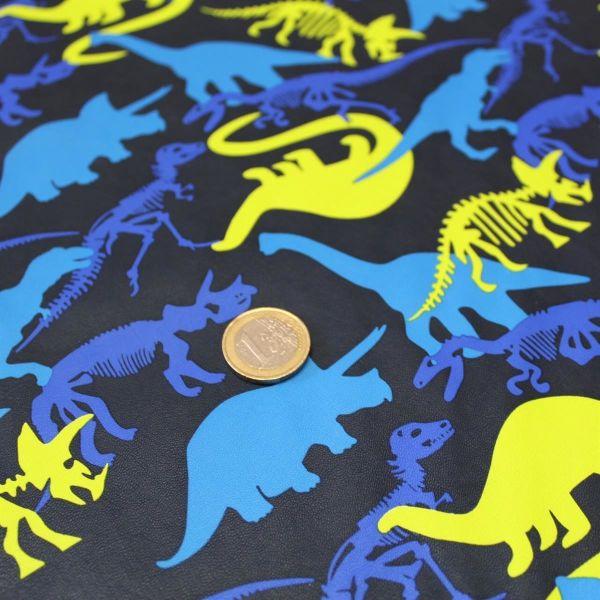 Kunstleder Dinos blau