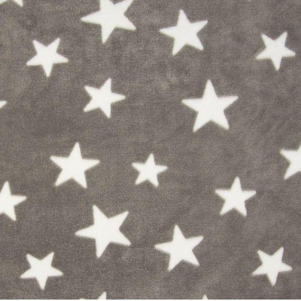 Fleece Jaquard Star Taupe/White
