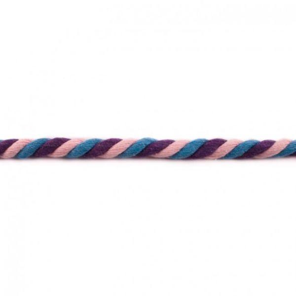 Multicolour Kordel 12mm gedreht rosa/jeans/violett