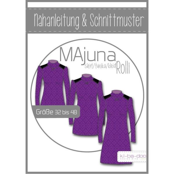 Rollkragenshirt MAjuna -  DIN A0 Schnittmuster und Anleitung als Broschüre