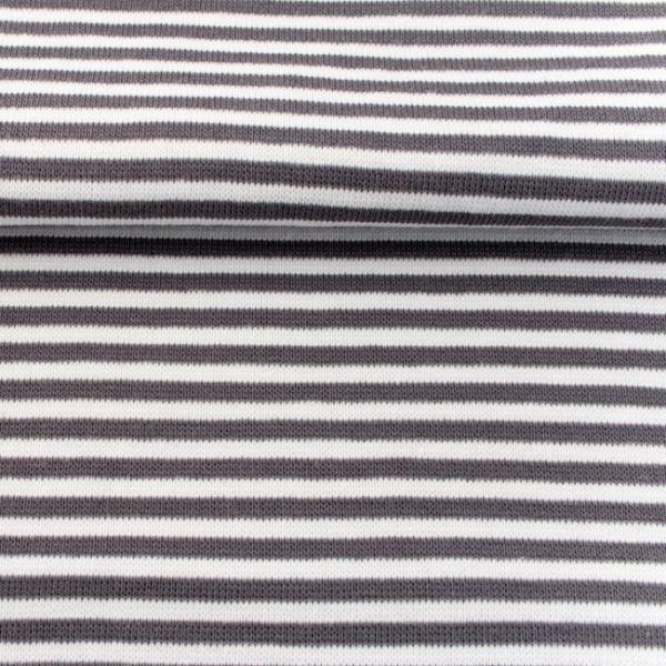 Ringel-Bündchen grau/weiß