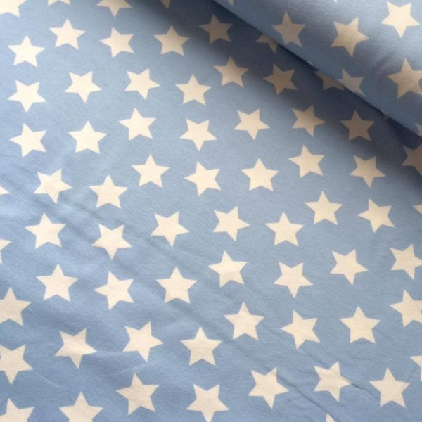Jersey Druck Sterne groß hellblau