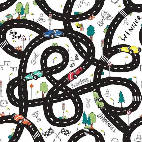 Baumwollstoff Road Map