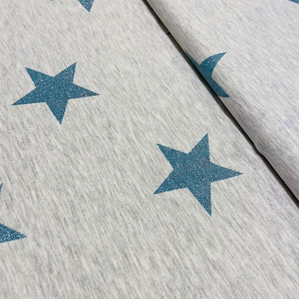 Jersey Glitter Star ecru melange