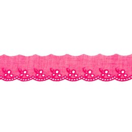 Baumwollspitze 42mm Blume pink
