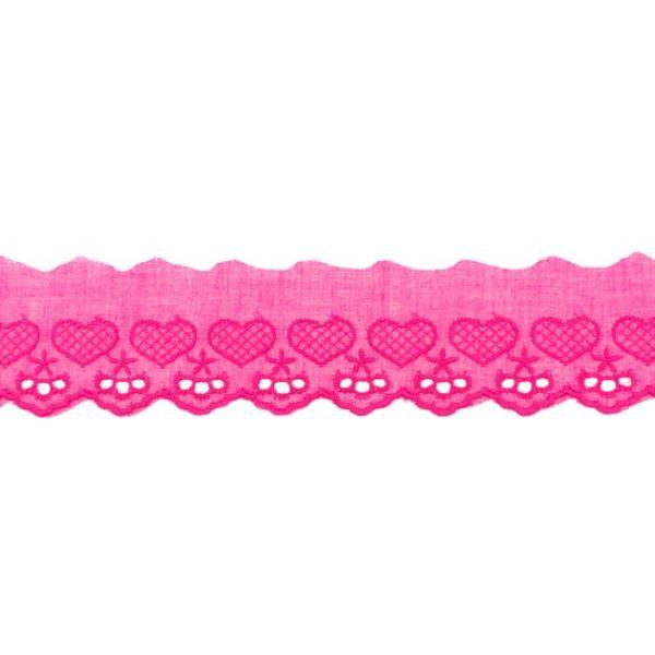 Baumwollspitze 50mm kleine Herzen pink