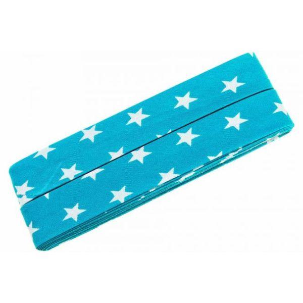 3m Schrägband Sterne Baumwolle Breite 40 mm gefalzt türkis