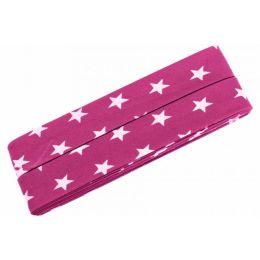 3m Schrägband Sterne Baumwolle Breite 40 mm gefalzt pink