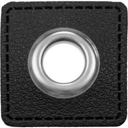 Ösen Patches für Kordeln Lederimitat 8mm schwarz