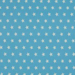 Baumwollstoff Sterne Mini hellblau/weiß