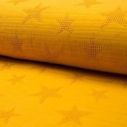 Jacquard Waffelstoff ocker gelb