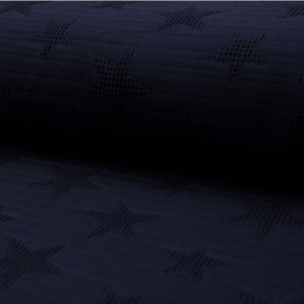 Jacquard Waffelstoff navy blau