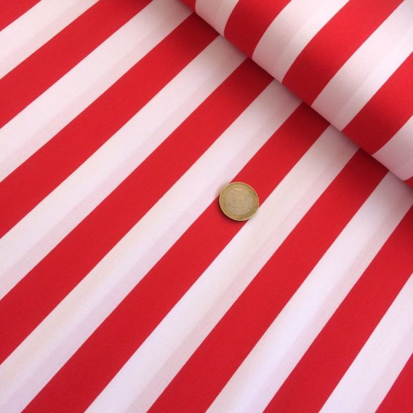 Baumwolldruck Streifen rot/weiß