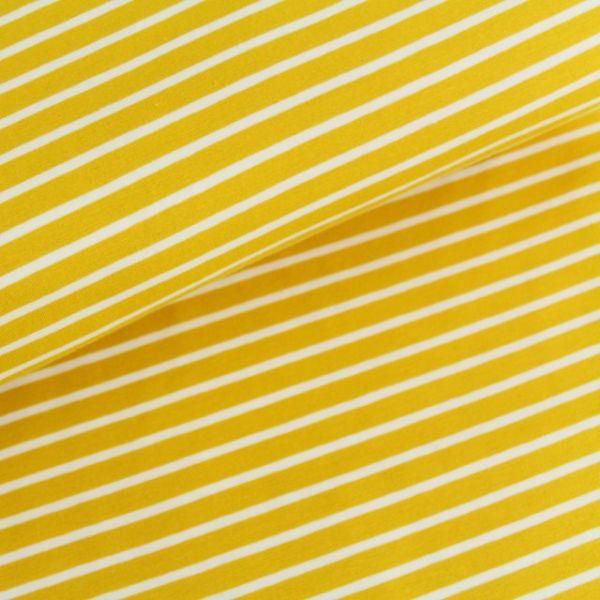 Bio-Jersey Streifen senf/weiß