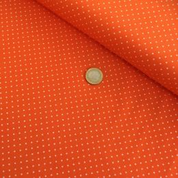 Baumwollstoff Punkte Mini orange/weiß