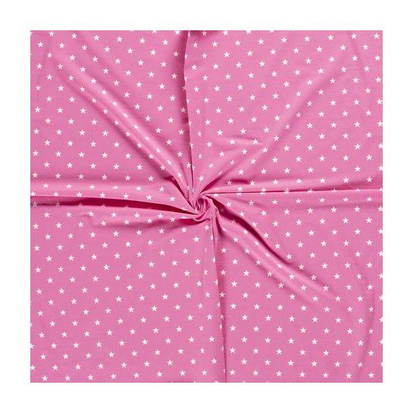 Jersey Druck Sterne pink/weiß