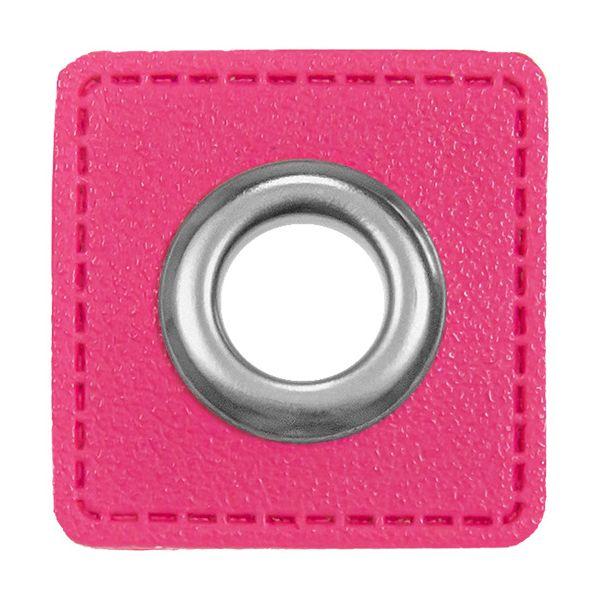 Ösen Patches für Kordeln Lederimitat 8mm pink