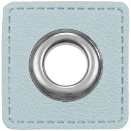 Ösen Patches für Kordeln Lederimitat 8mm eisblau