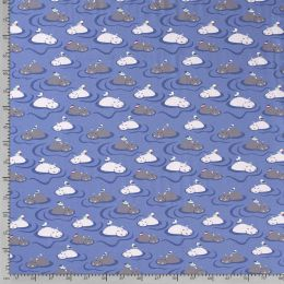 Jersey Nilpferd & Vogel blau
