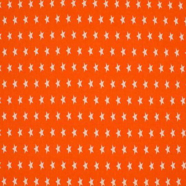 Baumwollstoff Sterne Mini orange/weiß