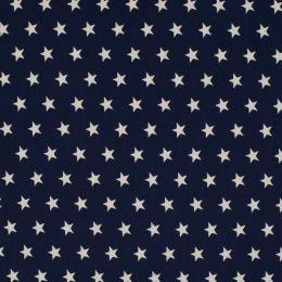Baumwollstoff Sterne Mini navy/weiß