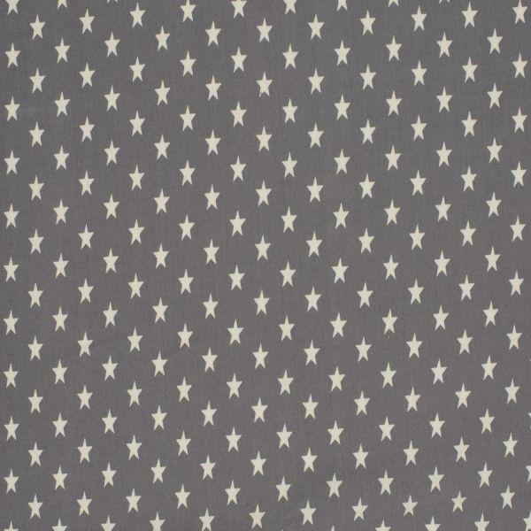 Baumwolljersey Sterne grau/weiß