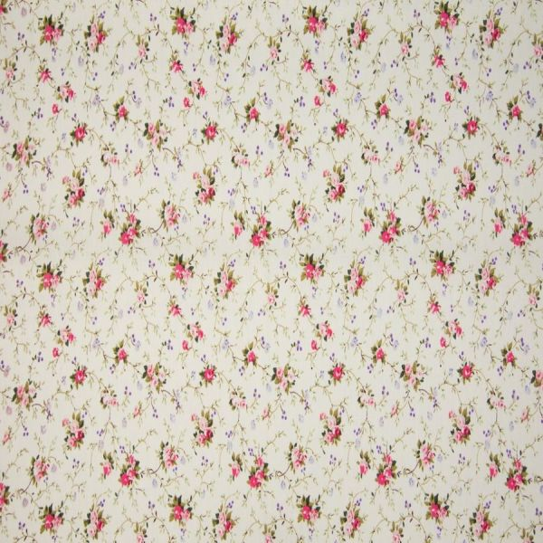 Baumwolldruck Blumenranke hellgrün