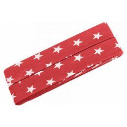 3m Schrägband Sterne Baumwolle Breite 40 mm gefalzt rot