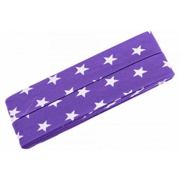 3m Schrägband Sterne Baumwolle Breite 40 mm gefalzt lila