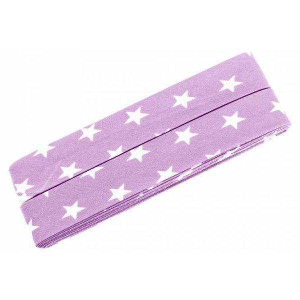 3m Schrägband Sterne Baumwolle Breite 40 mm gefalzt rosa