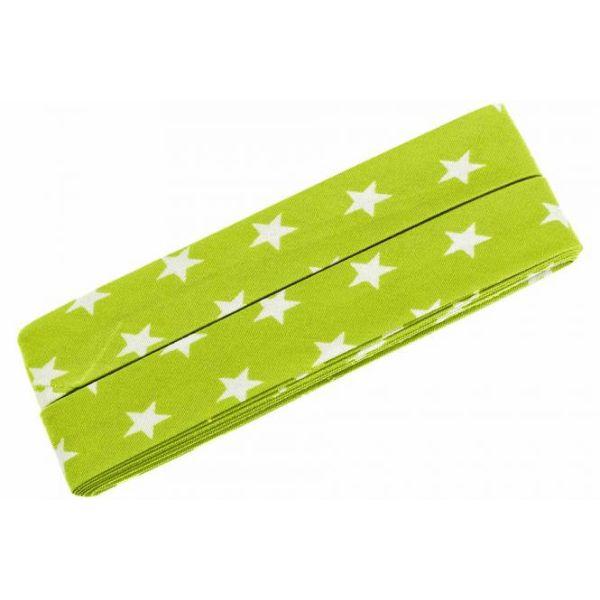 3m Schrägband Sterne Baumwolle Breite 40 mm gefalzt hellgrün
