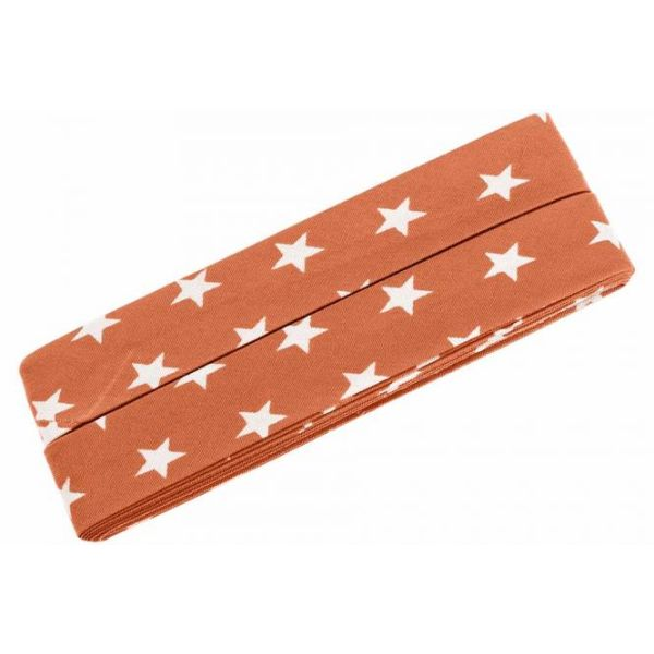 3m Schrägband Sterne Baumwolle Breite 40 mm gefalzt orange