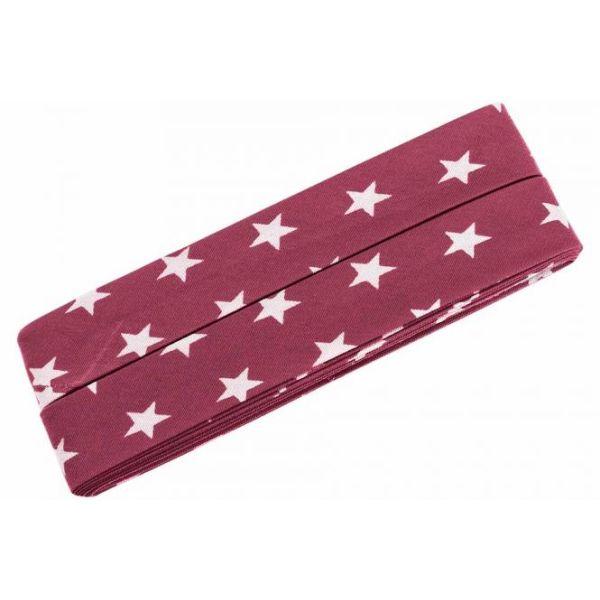 3m Schrägband Sterne Baumwolle Breite 40 mm gefalzt dunkelrot