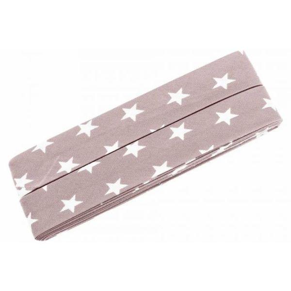 3m Schrägband Sterne Baumwolle Breite 40 mm gefalzt zartrosa