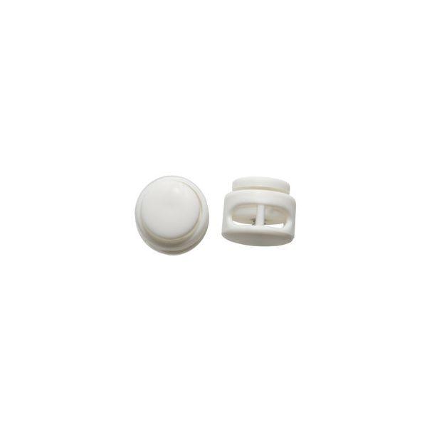 Kordelstopper rund 2-loch 17mm weiß