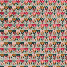 Baumwolle Happy Tulips mint