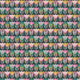 Baumwolle Happy Tulips dark green