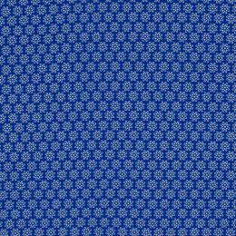 Baumwollstoff Blume blau/weiß