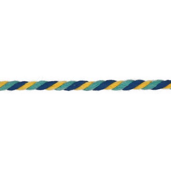 Baumwollkordel gedreht 6mm blau/gelb/türkis