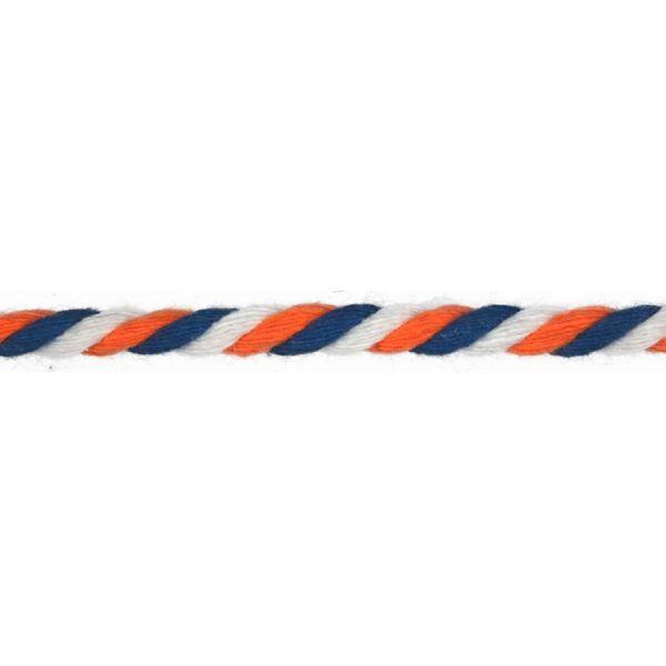 Baumwollkordel gedreht 6mm blau/weiß/orange