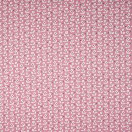 Baumwolldruck Blumen fuchsia grey