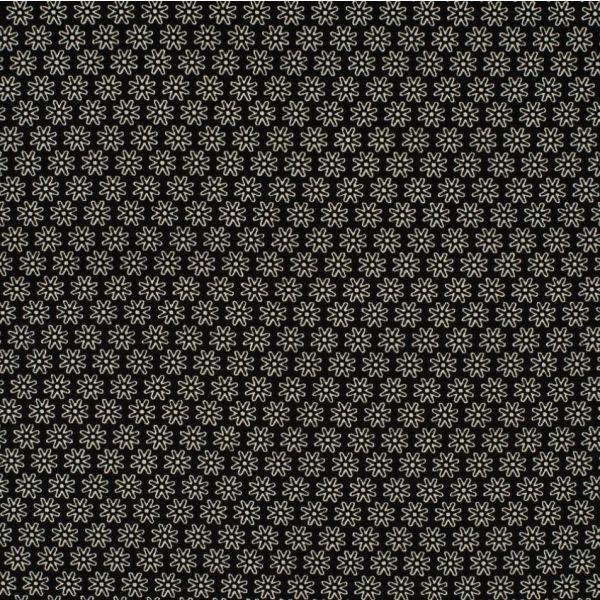 Baumwollstoff Blume schwarz/weiß