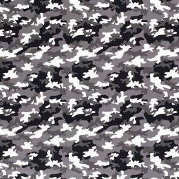 Baumwolljersey Camouflage schwarz weiß grau
