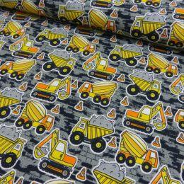Baumwolljersey Druck Baufahrzeuge grau gelb