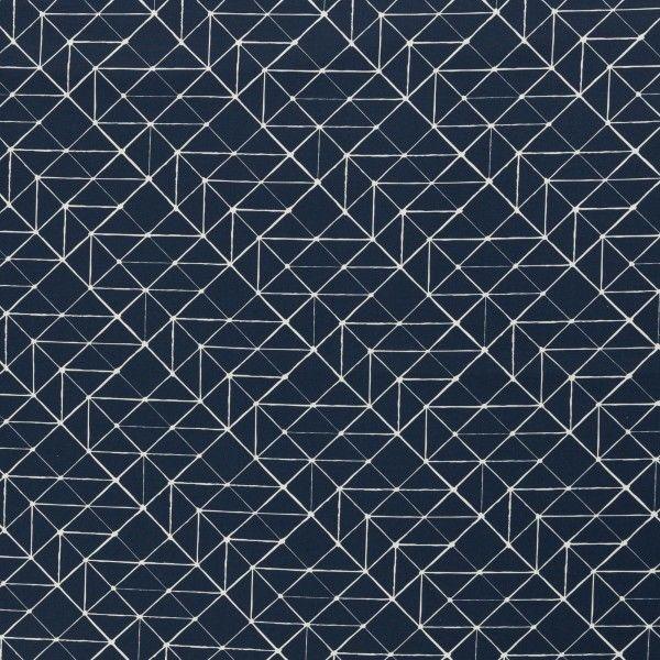Baumwollstoff Geometrische Linien dunkelblau