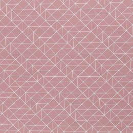Baumwollstoff Geometrische Linien altrosa